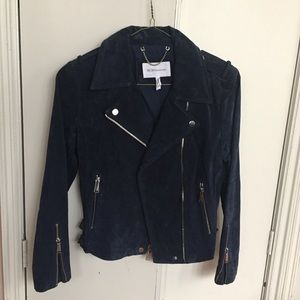 BCBG leather suede moto jacket